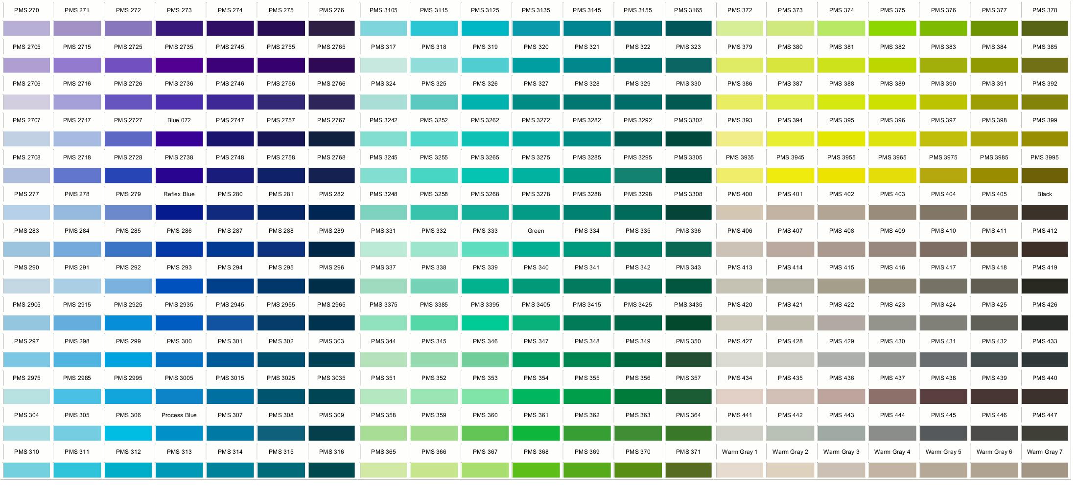 Pantone Colors 270-447