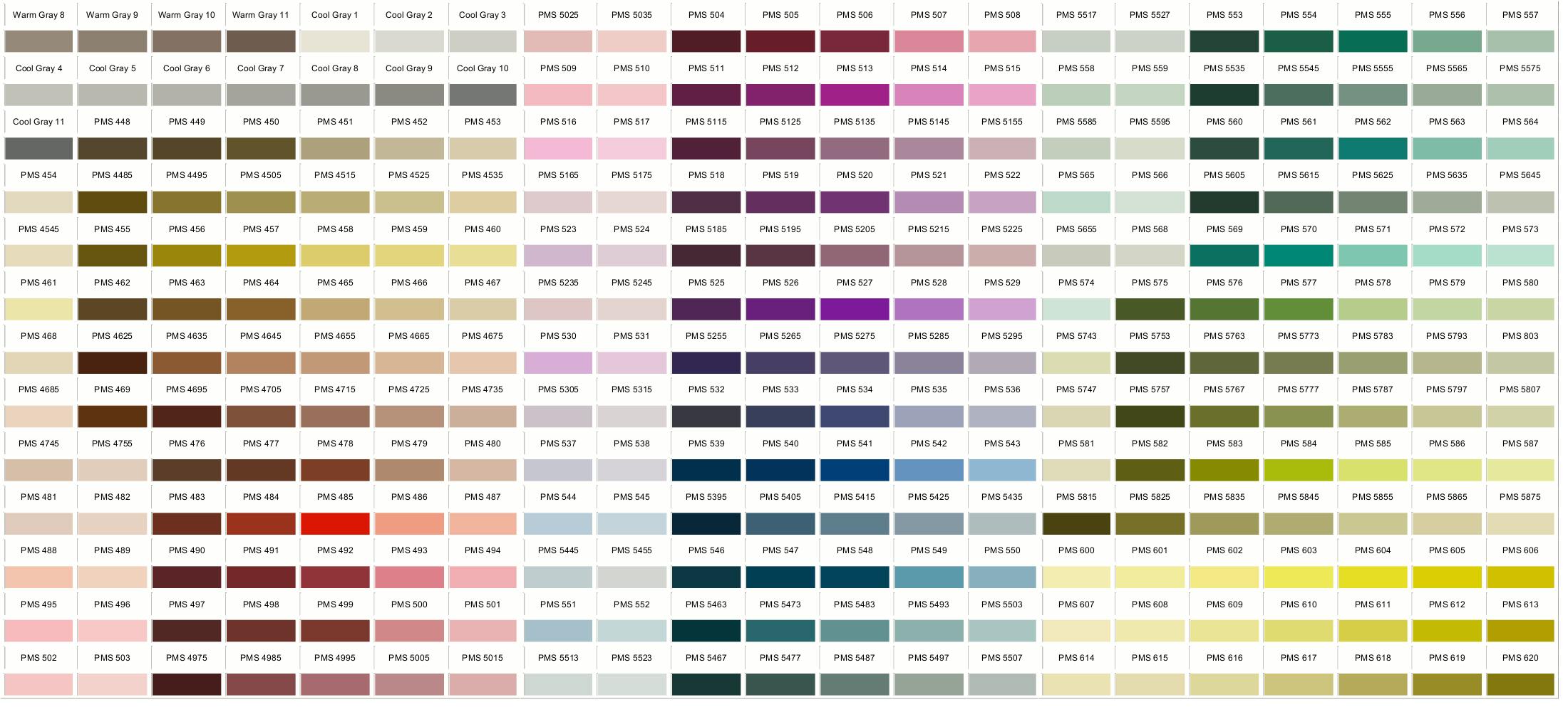 Pantone Colors 448-620