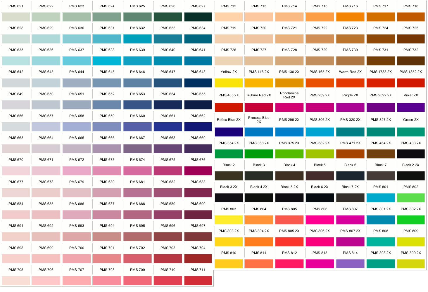 Pantone Colors 621-814