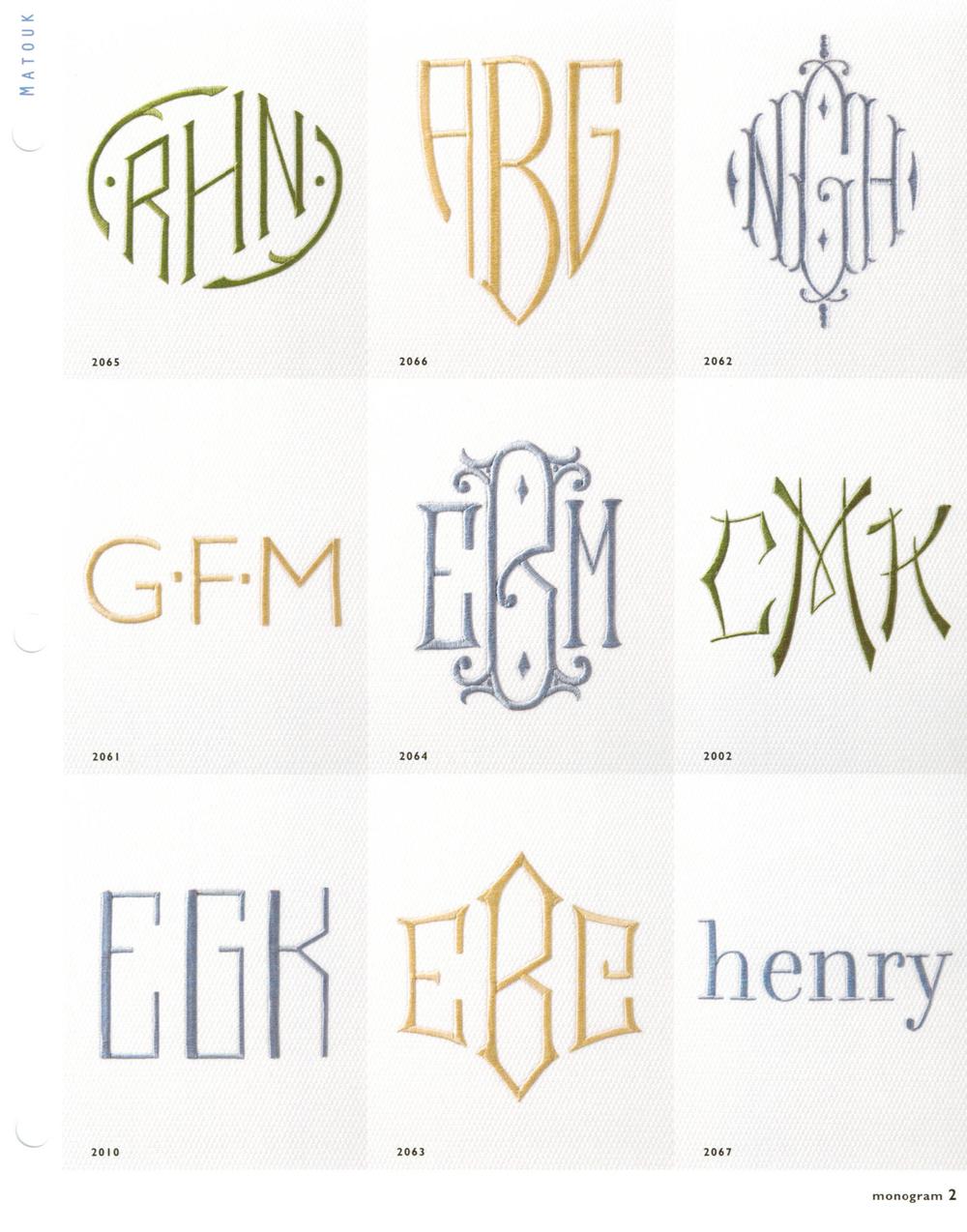 Matouk Monogram Styles