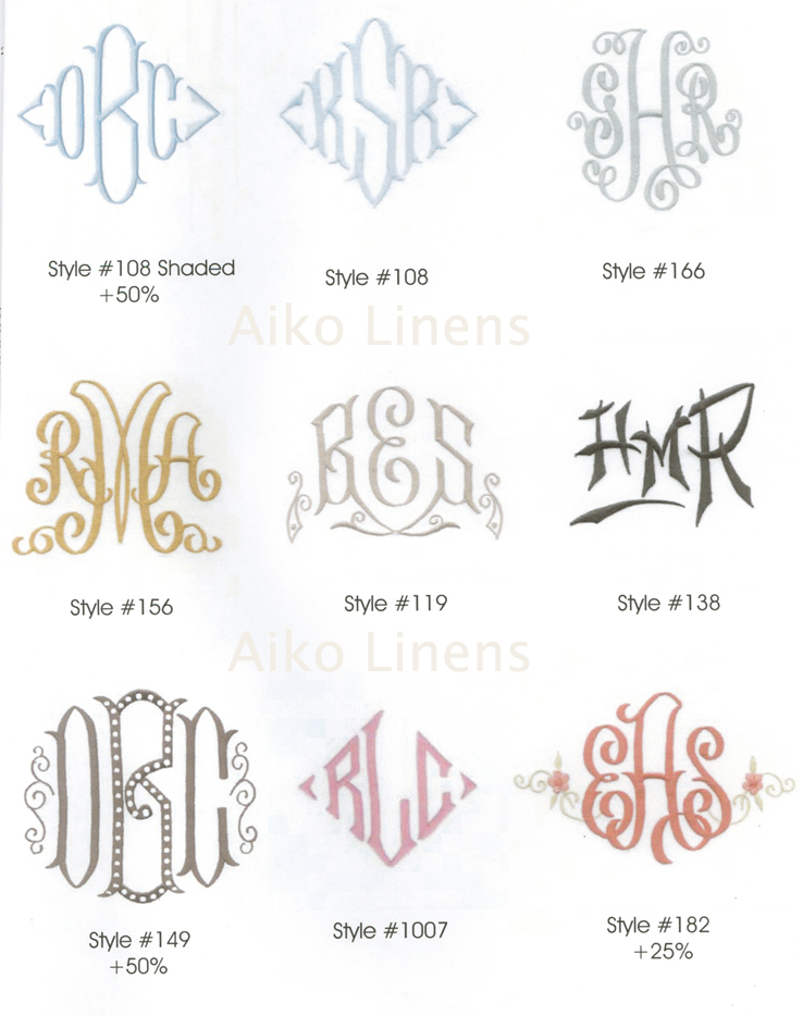 Monogram Styles Aiko Luxury Linens